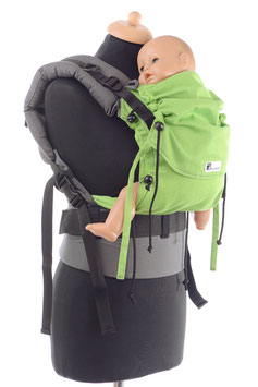 Huckepack Full Buckle Baby -apfelgrün/grau (Standarddesign)