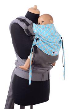 Huckepack Half Buckle Toddler - grau/türkise Tropfen