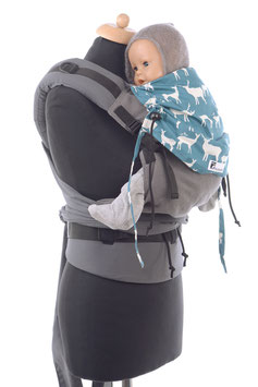 Huckepack Half Buckle Toddler - grau/petrol Hirsche