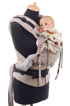 Huckepack Half Buckle Baby-light brown/forest animals