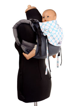 Huckepack Onbuhimo Toddler - grey/little blue flours