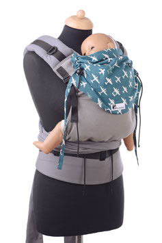 Huckepack Half Buckle Toddler-grey/petrol airplanes