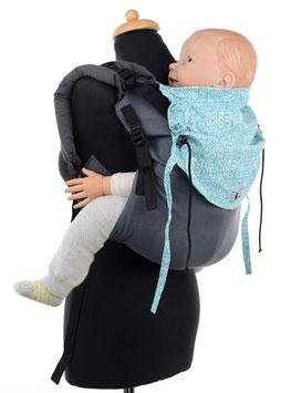 Huckepack Onbuhimo Toddler - hellblau/weiß gemustert