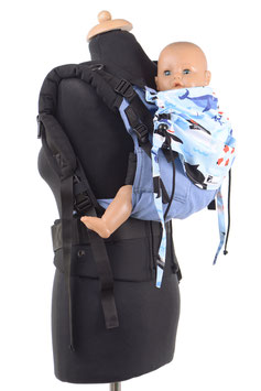 Huckepack Full Buckle medium-light blue/black orcas