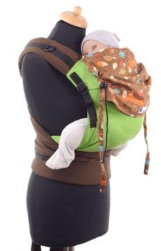 Huckepack Half Buckle Toddler - grün/braun Waldtiere
