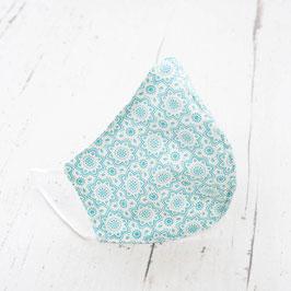 Gesichtsmaske - hellblau/weiß Blumem
