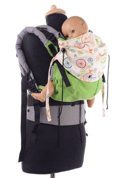Huckepack Full Buckle toddler-grün/bunte Räder