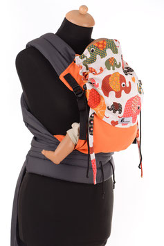 Huckepack Mei Tai Medium-orange elephantes