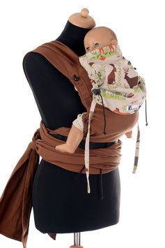 Huckepack Wrap Tai Baby-braun Waldtiere