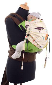 Huckepack Half Buckle Toddler - grün/afrikanische Tiere