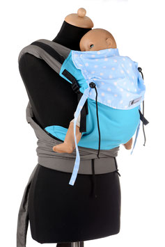 Huckepack Half Buckle Toddler-turquoise/light blue dots