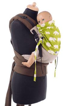 Huckepack Half Buckle Toddler - hellbraun/grün Bären