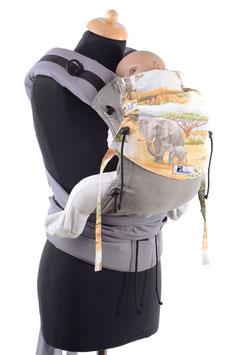 Huckepack Half Buckle Baby - grau/ afrikanische Tiere
