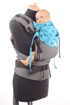 Huckepack Half Buckle Medium-grey/turqouise stars