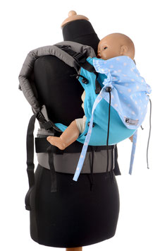 Huckepack Full Buckle Baby-turqouise/blue dots