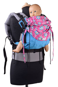 Huckepack Full Buckle Medium - türkis/pinke Blumen