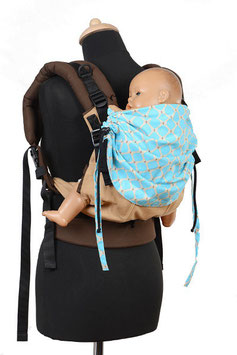 Huckepack Full Buckle Toddler-Colimacon terracotta/light blue dots