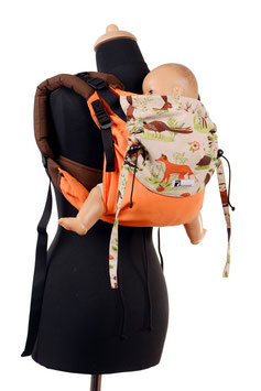 Huckepack Onbuhimo Medium-Colimacon orange/forest animals