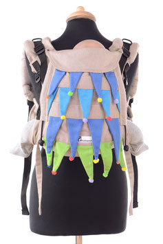 Huckepack Onbuhimo Medium - Karneval/Bäume (2 auswechselbare Kopfstützen/Unikat)