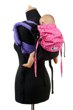 Huckepack Onbuhimo Medium-schwarz lila/pink Sterne