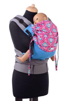 Huckepack Half Buckle Toddler-turquoise/pink flowers