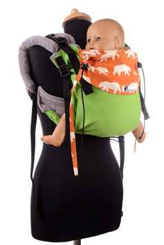 Huckepack Onbuhimo Medium-apple green/orange bears