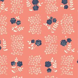 Whitehaven *Organic Cotton* by Cloud 9, Patchwork Baumwolle, Blumen, koralle  Swafing/  (0,5 m)