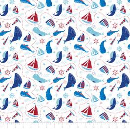 Baumwolle maritim, Boote, Wale, weiß, Webware / Swafing (0,5 m)