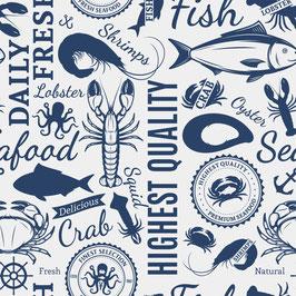 Dekostoff – Ocean is my home – Made in Spain  CREME (0,5 m)