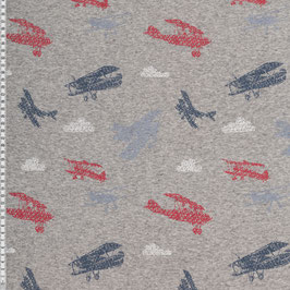 Alpenfleece Doppeldecker grau meliert blau/rot Swafing (0,5 m)