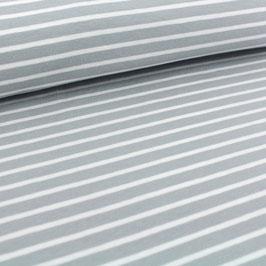 Biojersey Streifen - grau-weiß (0,5 m) Stoffonkel