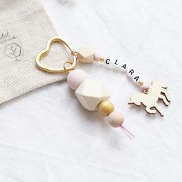 Schlüsselanhänger mit Wunschnamen Einhorn rosé-gold