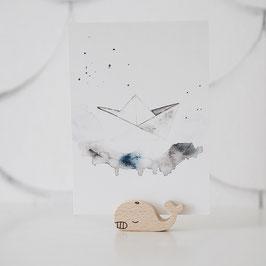 Holztier Wal Postkarten Halter