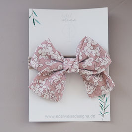 Haarband Leinen rosa Blümchen