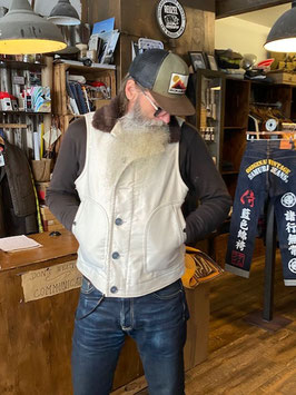 IRON HEART - IHV-22 - ALPACA LINED WHIPCORD N1 DECK VEST - IVORY