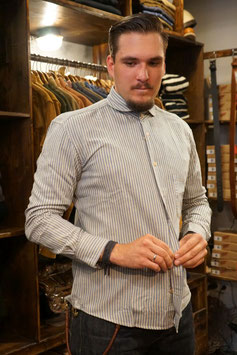 orgueil - windsor collar - indigo stripe