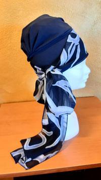 Turbante calotta con fascia blu