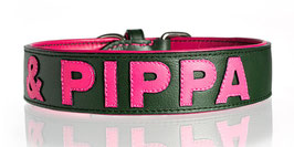 Nappa Halsband Grün/Pink individualisierbar