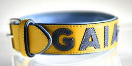 Nappa Halsband Gelb/Blau individualisierbar