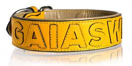 Nappa Halsband gelb/gelb individualisierbar
