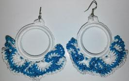 Pendientes de Crochet Azul/Blanco
