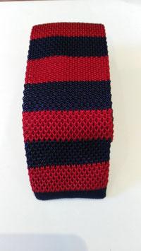 Corbata Crochet. Firma MAESTRANZA.Franja Roja/Marino