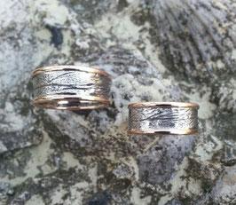 Handlinienringe/Trauringe in Ag 925 Silber  mit massiven 585 Gelbgold- Begrenzungen