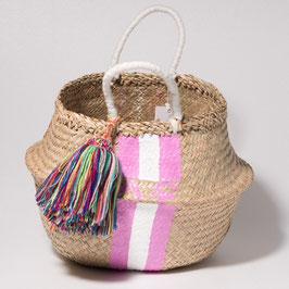 Vanessa Paegler - handbemalter Korb Stripes PERSONALIZED pink