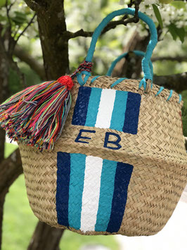 Vanessa Paegler - handbemalter Korb Stripes PERSONALIZED Blautöne