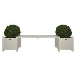 Pflanzkästen mit Bankbrücke weiß