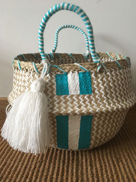 Vanessa Paegler - handbemalter Korb Stripes PERSONALIZED Mint