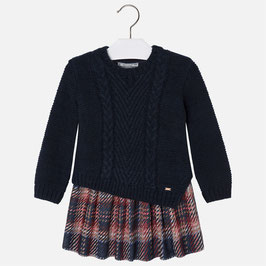 Mayoral 女の子用ニットアンサンブル/Girl knit dress with checkered skirt