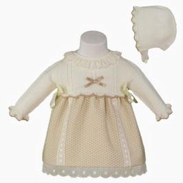 Miranda ベビー女の子用ドレス、ボンネット付き/Baby girl dress with hat beige