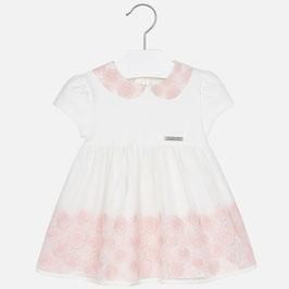 Mayoral 女の子用半袖チュールドレス/Baby girl embroidered tulle short sleeve dress